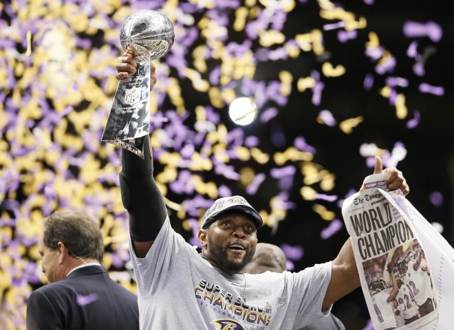 Baltimore Ravens inside linebacker Ray Lewis holds up the Vince Lombardi Trophy after his team defeated the San Francisco 49ers in the NFL Super Bowl XLVII football game in New Orleans